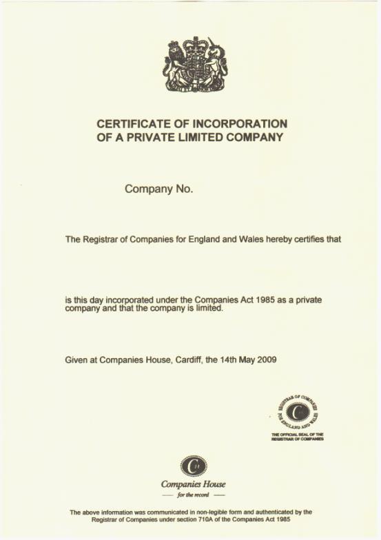 英国公司注册证书